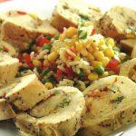 Hühnchenrouladen mit Reis und Gemüse