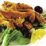 Hühnchenstreifen mit Orangen und Oliven
