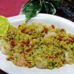 Reissalat mit Paprika und Shrimps