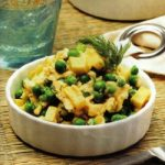 Rühreier mit Kartoffeln und Erbsen