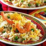 Gemüsereis mit Shrimps und Ei